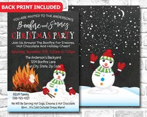 Funny Christmas Party Invitation, S'mores & Bonfire Invitation, Winter Party Invitation, Holiday Party, Smores Party, Bonfire Party