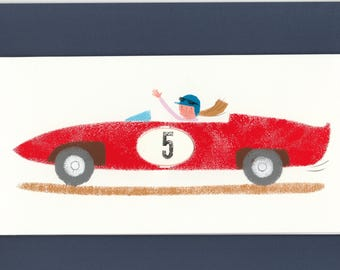 Red Racing car card