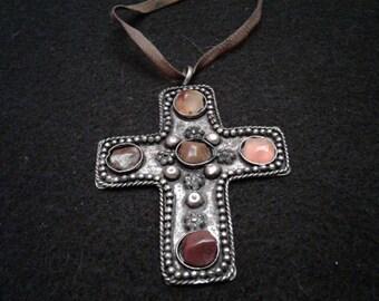 Primitive Alpaca Cross with Red/Brown Stones