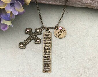 Scroll, Cross and love Charm bronze Necklace, gift for her, religious jewelry,