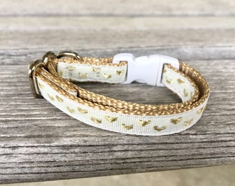 Gold Hearts Cat Collar, Valentine's Day Cat Collar, White Cat Collar, White and Gold Kitten Collar, Woven Gold Cat Collar, Adorable Collar