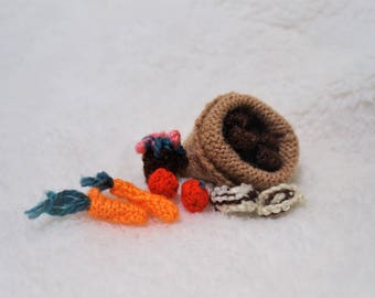 miniature hand knitted produce, carrots, tomatoes, mushrooms,potatoes, and flower pot