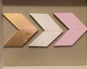 Gold white pink chevron wall decor (set of 3)