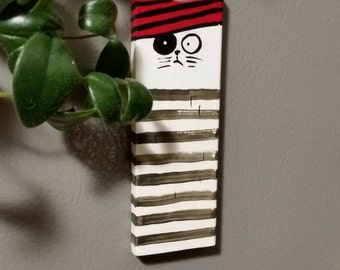 Handmade Wooden Cat magnet gift decor for kitchen fridge.