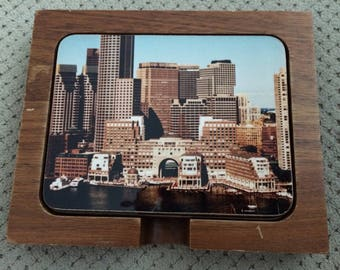 Set of 4 Mid Century Modern Cityscape Cork Backed Coasters in Wooden Holder
