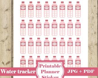 Pink HYDRATE TRACKER Planner Sticker – Printable Planner Sticker Hydration Sticker Water Tracker Hydrate Erin Condren Happy Planner DOWNLOAD