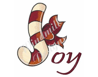 Joy Candy Cane - Machine Embroidery Design