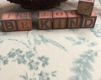 "BE KIND in antique alphabet blocks, plus the ""dog"" block"
