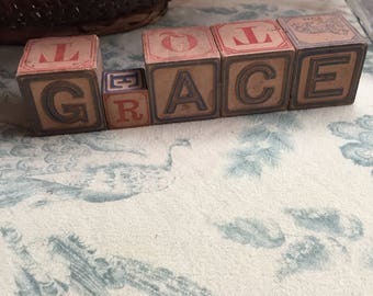 GRACE in antique alphabet blocks