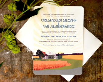 Family Farm with Wheat Field Landscape Wedding Invitation 5x7 / with A7 envelopes - BP1