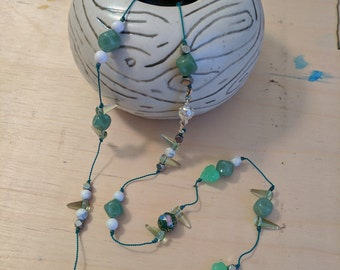 Green Cloisonne and Jade Necklace