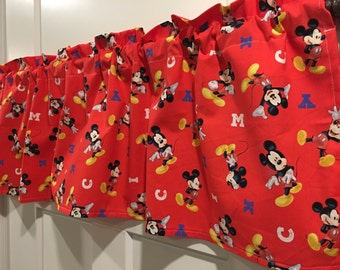 Disney Mickey Mouse Red Valance Curtain