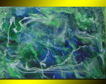 Abstract painting acrylic and resin on canvas