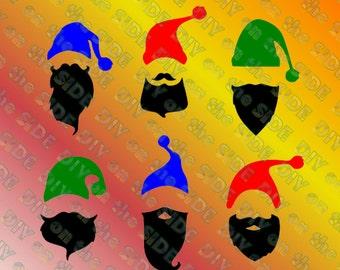 SVG Cut File Hipster Mustache Christmas Santas  Hat Instant Download