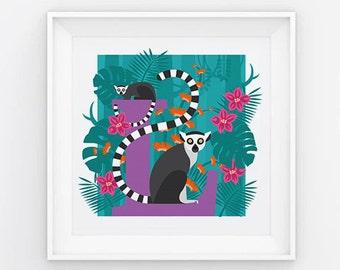 Lemur letter print, animal alphabet print, letter L print, nursery print, gift for baby, gift for animal lover, square lemur print