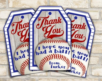 Thank you tags labels for baseball themed birthday party decorations for party favor gift bag or goodie bag