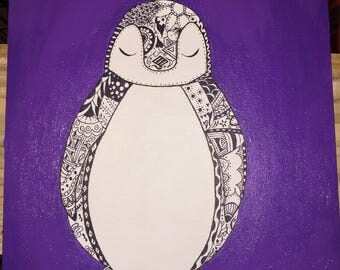 Purple penguin painting