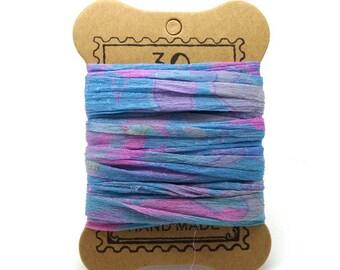 "Blue chiffon sari Silk Ribbon, pink ""SI0178"""