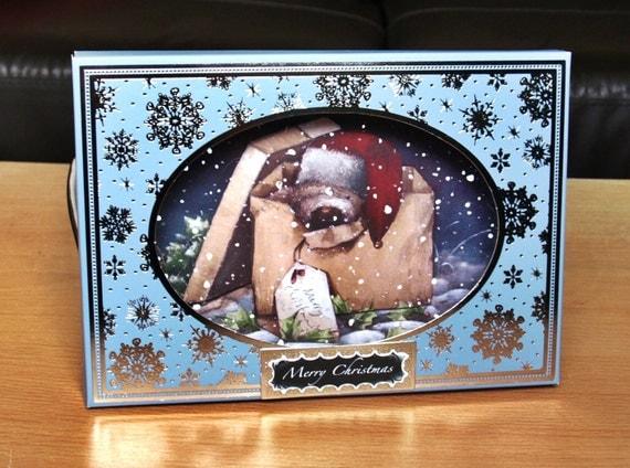 3D Box Christmas Handmade Card - luxury personalised unique quality special christmas teddy bear wellington UK