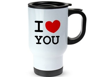 "Thermos Cup With Print - ""I HEART"" - Personalised With Your Text - Made From Stainless Steel - Leak-Proof Thermos Cup With Lid And Handle"