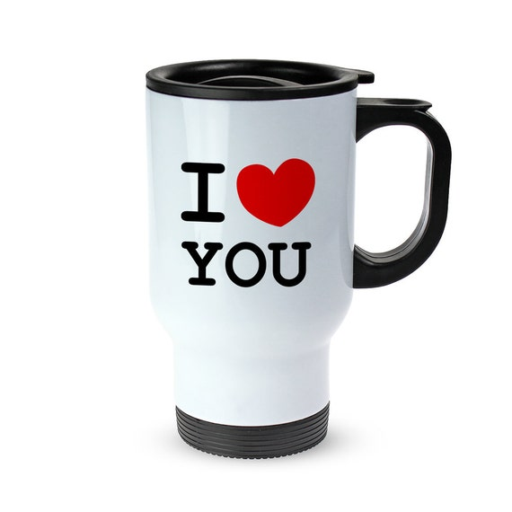 """Thermos Cup With Print - """"I HEART"""" - Personalised With Your Text - Made From Stainless Steel - Leak-Proof Thermos Cup With Lid And Handle"""