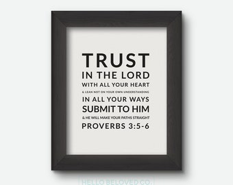 Bible Verse Print, Scripture Print, Proverbs 3:5-6 8x10 Digital Print, INSTANT DOWNLOAD