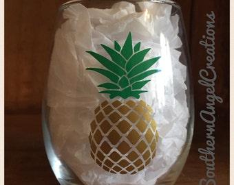 Pineapple Stemless Wine Glasses 15 oz