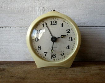 "Vintage alarm clock ""Sevani"" , made in USSR, mechanical watches, white watches for home decor"