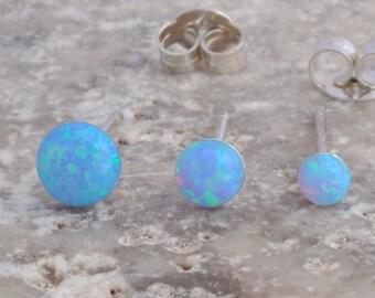 Opal Earrings, Opal Stud Earrings, Blue Opal Stud Earrings, Blue Opal Earrings ,Stud Earrings ,Opal Stud Earrings