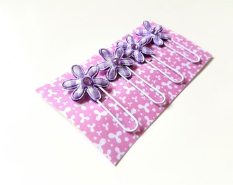4 Girly Pink Paperclips Bookmarks