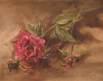 Peony Original Floral, Flower Oil Painting