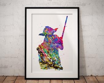 Star Wars inspired, Jedi Master Yoda, Watercolor Print, Colorful Watercolor, Poster, Room Decor, gift, Print, Wall Art (518)