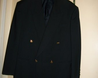 Mens Vintage Paolo Gucci Navy Wool Double Breasted Blazer Size 42S