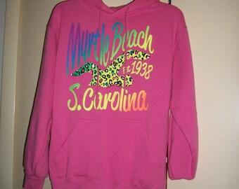 Vintage Pink Myrtle Beach South Carolina Hoodie, Sweatshirt Size S, NWOT