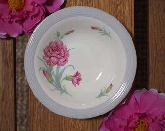 Vintage Ringwood Ware Small Dessert Dish Bowl - Pink Carnations with Grey Texured Rim - Wood & Sons - 1-54 - England - 1940's to 1950's