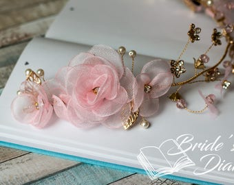 Wedding hair jewelry, hair comb with pearls and fabric flowers, bridal comb pink flowers