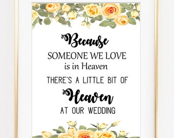 Because Someone We Love is in Heaven, Wedding memorial, wedding heaven sign, wedding printable, cream color, cream roses, white cream