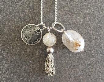 Sterling silver long charm necklace with antique coin, rutile quartz gem and tassel chain jewellery