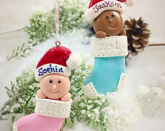 Baby's First Christmas Ornament, Personalized Ornament, Baby Ornament, Christmas Ornament, Girl Ornament, Boy Ornament, Polymer Clay