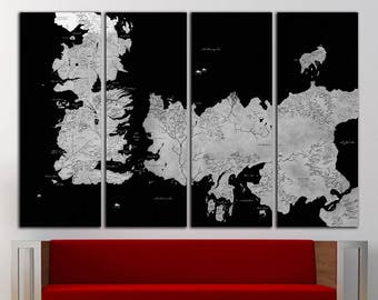 Game of Thrones Old World Map Canvas Print Vintage Game of Thrones Map Wall Art World Map Wall Decor Vintage Map Canvas World Map Print Old