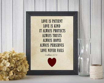 Love is Patient Corinthians 13 PRINTABLE Wall Art Home Decor Digital Download