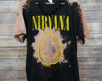 Vintage Inspired Custom Bleached & Distressed Nirvana T-shirt L