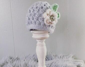 Ready to ship snd free shipping Crochet  flower beanie, sizes baby -adlut, crochet flower hat, baby yarn extra soft
