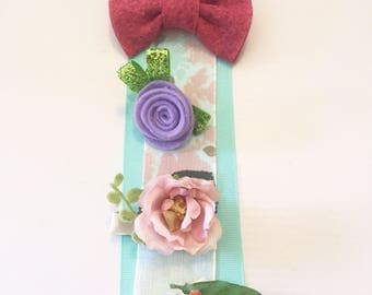 Free shipping 4 piece hair clip set, wool felt and flower clippies, baby hair accessories
