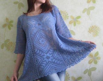 Clothing, women clothing, summer clothes, tunic crochet , summer tunic , tunic, crochet , plus Size , 3/4 sleeve , handmade