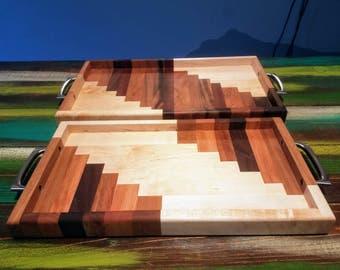 Handmade Reclaimed Wood Trays, Spiral Pattern