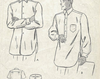 1940s Vintage Sewing Pattern Size:15 MENS SHIRT (1267) By Butterick 6875