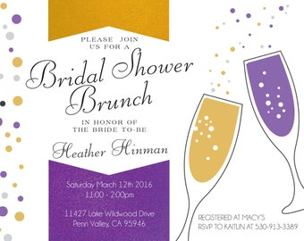 Bridal Shower Invite, champagne, bubbly, bar, cheers, brunch
