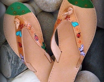 Happy handpainted greek leather Sandals