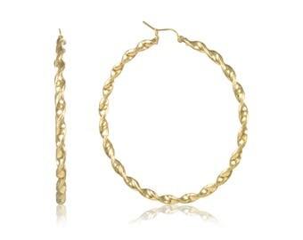 10K Yellow Gold Round Twisted Hoop Earrings 3.0mm 30-90mm - Swirl Twist